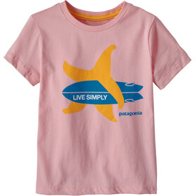 Patagonia Live Simply Organic T-Shirt Kinderen, live simply surf star/rosebud pink